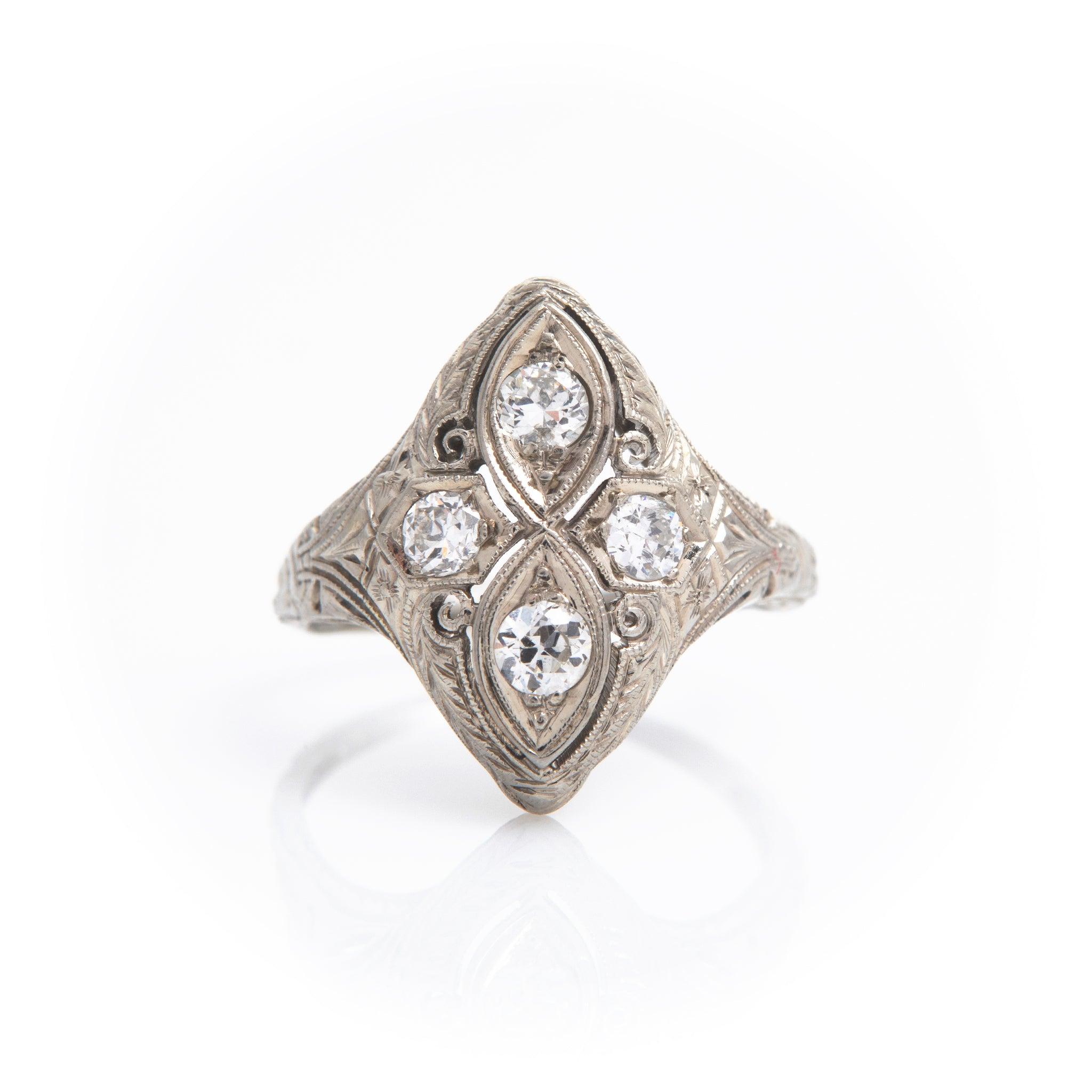 *SOLD* Diamonds in Vintage White Gold Ring - Sindur Style