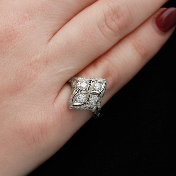 *SOLD* Diamonds in Vintage White Gold Ring - Sindur