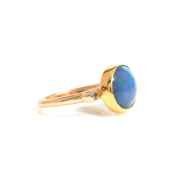 Opal and Diamonds in Yellow Gold Ring - Sindur
