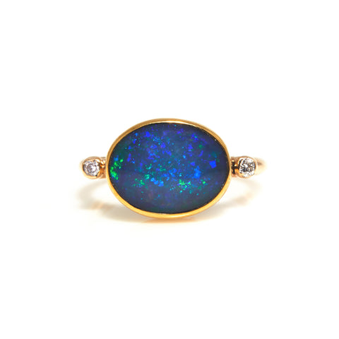 Opal and Diamonds in Yellow Gold Ring