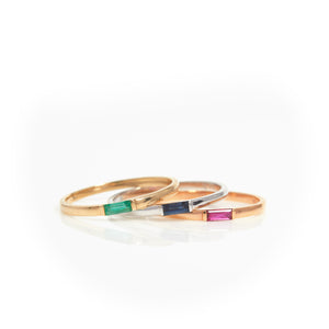 Emerald, Sapphire & Ruby in Tricolor Gold stacking rings - Sindur