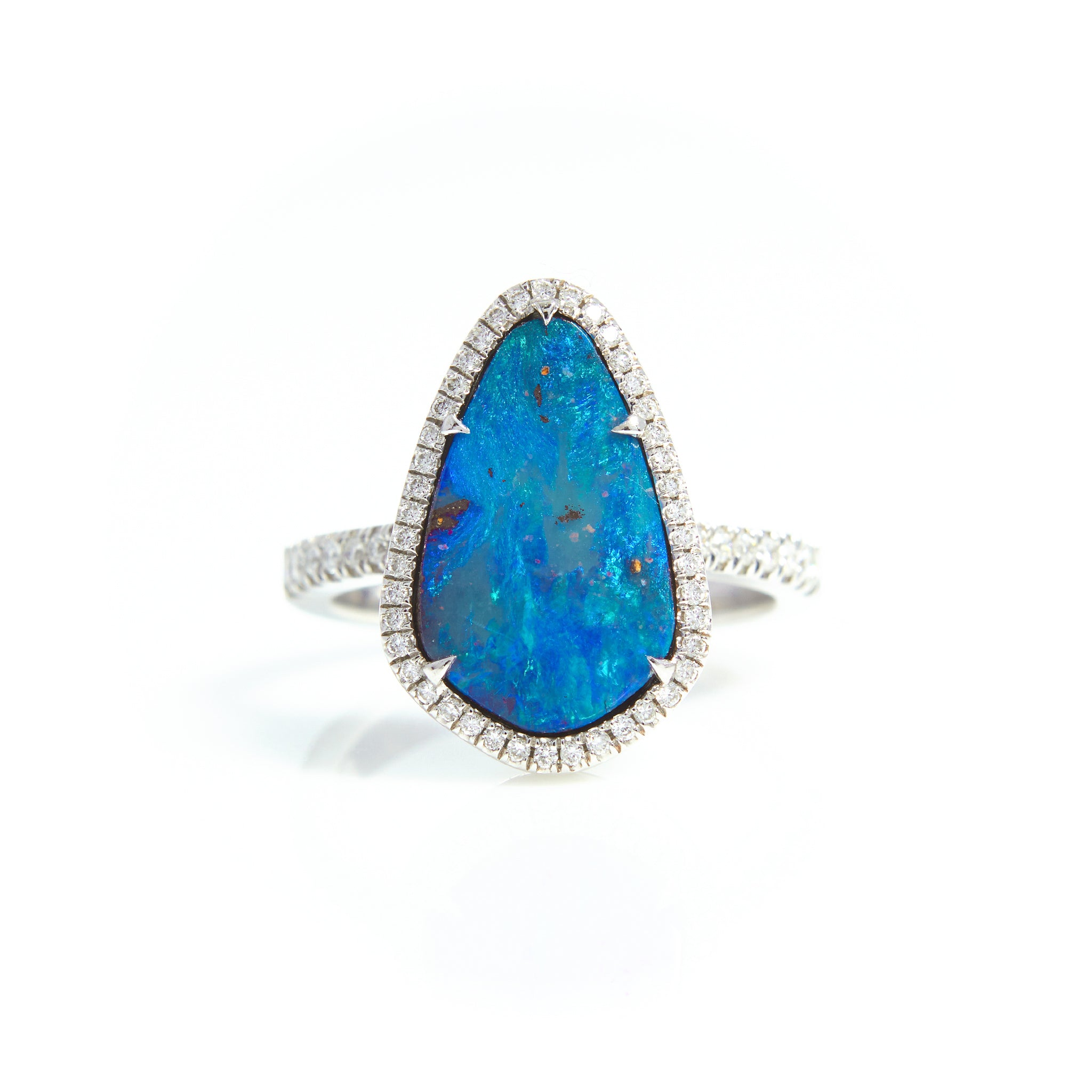 S. Kashi Boulder Opal and Diamond Ring in White Gold - Sindur