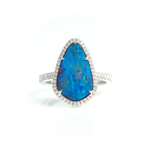 S. Kashi Boulder Opal and Diamond Ring in White Gold - Sindur Style