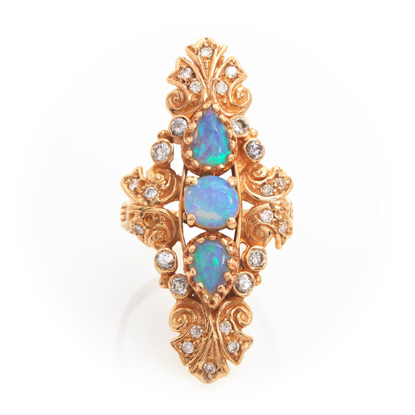 Opals and Diamonds in Vintage Yellow Gold Ring