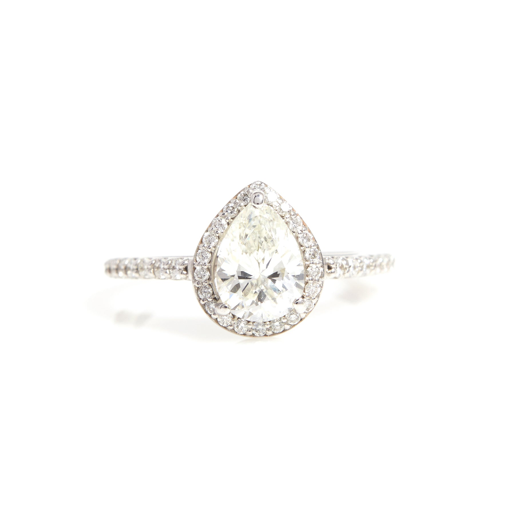 Pear Shaped Diamond with Halo in White Gold - Sindur Style