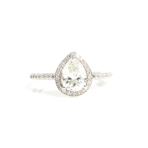 Pear Shaped Diamond with Halo in White Gold - Sindur