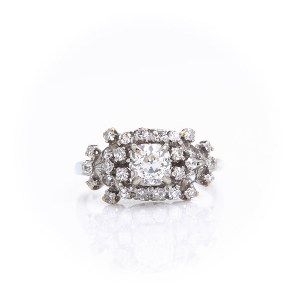 Old European Cut Diamonds in White Gold Antique Ring