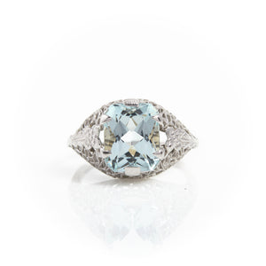 *SOLD* Aquamarine in Art Deco White Gold Filigree Ring - Sindur