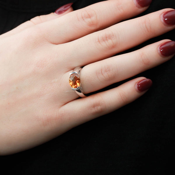 Citrine Bezel Set in Modern White Gold Ring - Sindur