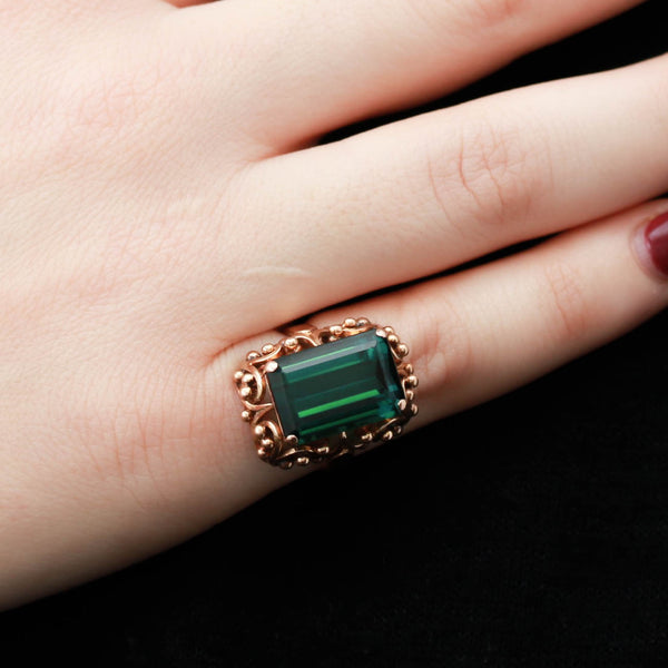 Green Tourmaline in Yellow Gold Ring