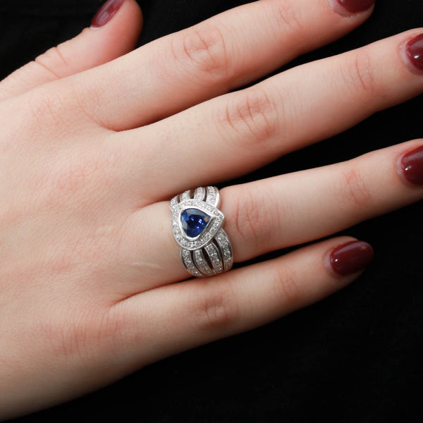 Blue Sapphire and Diamonds in White Gold Ring