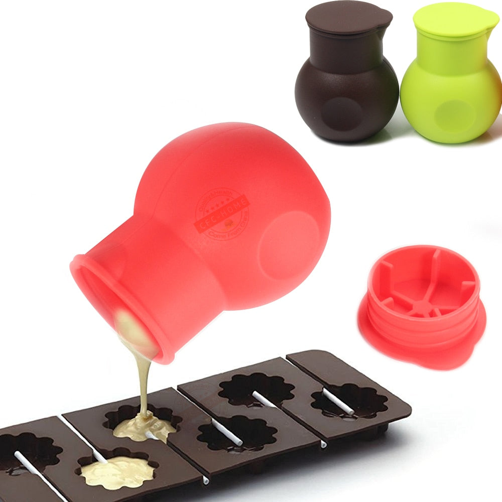 Chocolate Melting Pot Silicone Mould Butter Sauce Milk Microwave Baking Pouring Kitchen Aid Tools - Red Green chocolate