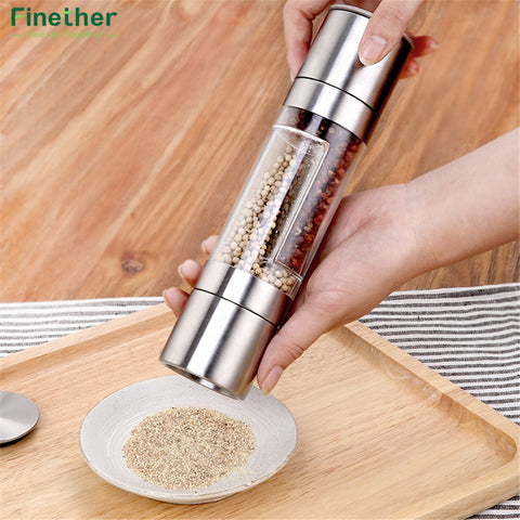 2 in 1 Stainless Steel Manual Salt & Pepper Mill