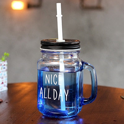 Glass Mason Jar Mug with Lid and Straw