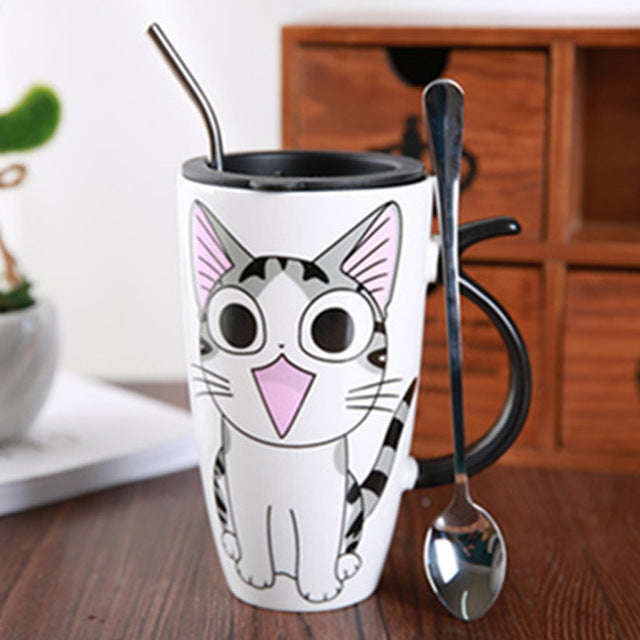 Cute Cat Ceramic Coffee Mug With Lid/purrfect