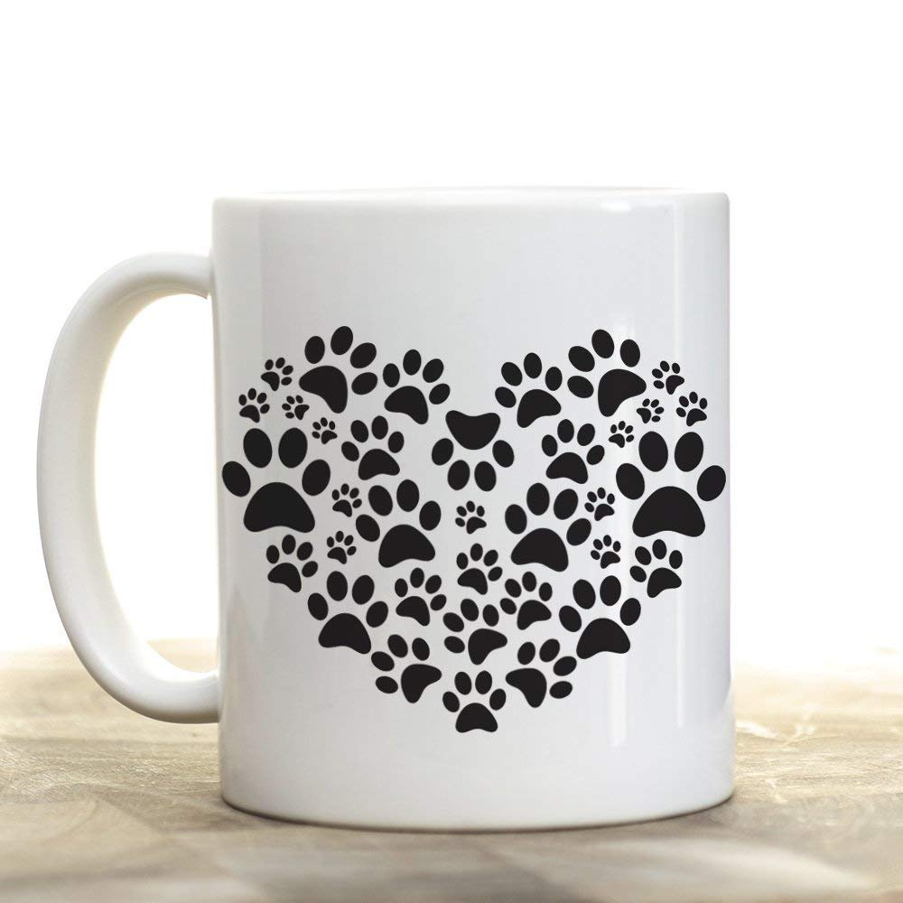 Dog Paw Heart Pet Love  Black & White 11oz Ceramic Coffee Mug