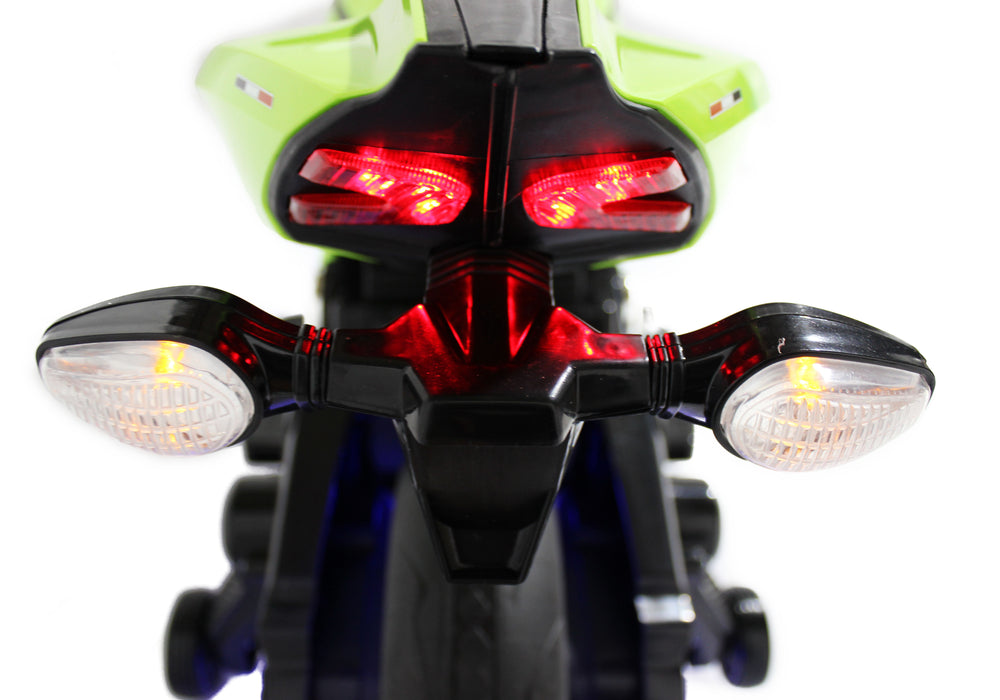 Load image into Gallery viewer, Slime Green | Electric Ride on Motorcycle with LED Lights 12V - Shop Remote control kids electric cars & motorcycles