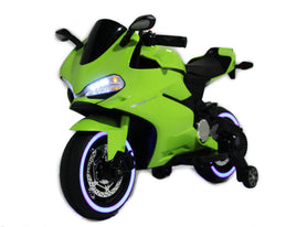 Slime Green | Electric Ride on Motorcycle with LED Lights 12V - Shop Remote control kids electric cars & motorcycles
