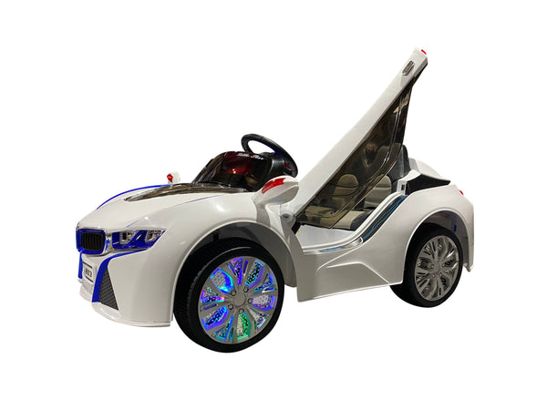 White | Baby Beamer Kids Car with Touch Screen TV and Butterfly Doors