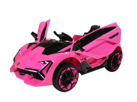 Lamborghini Style Kids Car with Parental Remote Control 12V | Pink