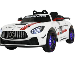 Licensed Mercedes GT AMG Special Edition Kids Car with TV and Parental Remote 12V | White