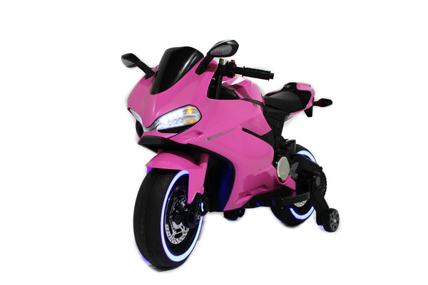 Pink | Elecric Ride on Motorcycle with LED Lights 12V