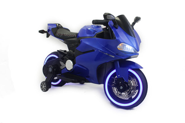 Blue | Electric Ride on Motorcycle With LED Lights 12V