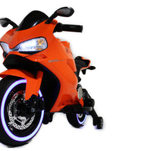 Load image into Gallery viewer, Orange | Electric Ride on Motorcycle with LED Lights 12V - Shop Remote control kids electric cars & motorcycles