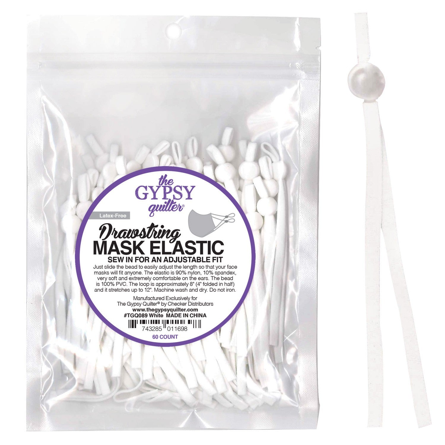 Drawstring Mask Elastic White 60ct