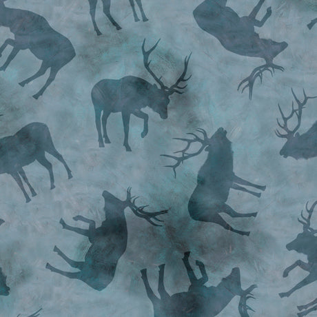 WILD ELK   ELK SILHOUETTES Chambray by QT Fabrics