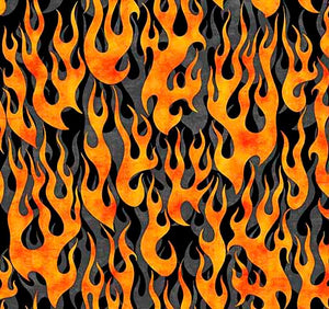 5 ALARM   FLAMES Gray by QT Fabrics
