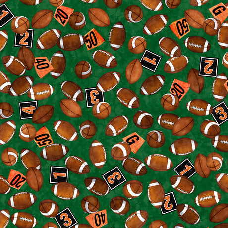 FOOTBALL NOVELTEENIES   FOOTBALLS Green by QT Fabrics