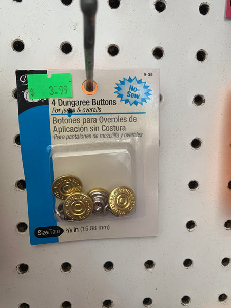 4 dungaree buttons gold