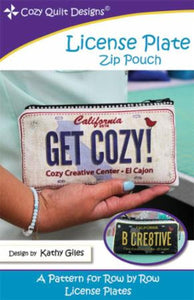 Pattern License Plate Zip Pouch