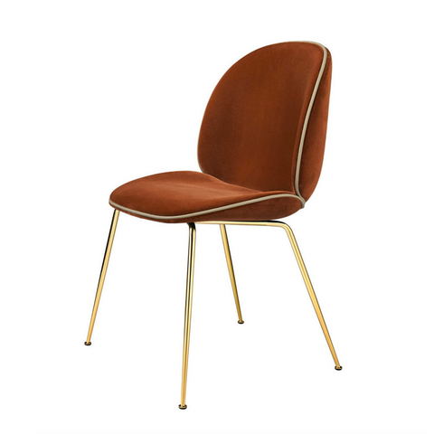 GUBI // Beetle Dinning Chair Fully-upholstered Brass Base