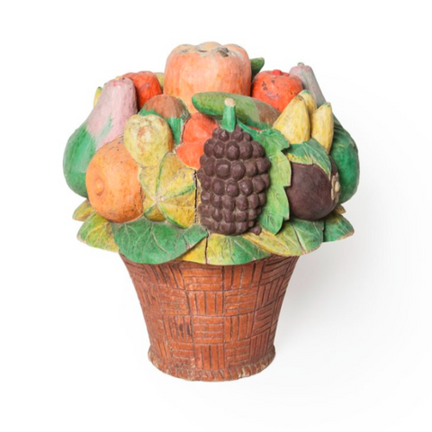 Old Wooden Basket with Mixed Fruits
