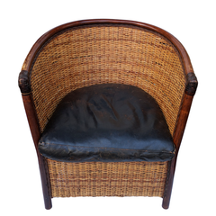 Rattan Leather Armchair. Set of 2
