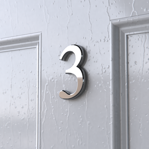Chrome Self Adhesive Classic Style House Door Numbers