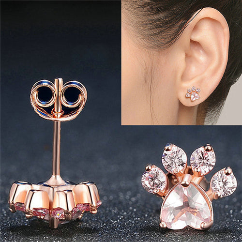 c25bfe8eb New Shiny Pink Stud Earrings CZ Bear Jewelry Dog Paw Print Earring Female  Piercing Rose Gold