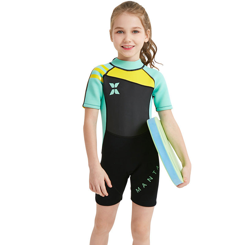 2.5mm Half Sleeve Back Zipper One Piece Wetsuits-wetsuits-hundredfeel-Green-S-hundredfeel