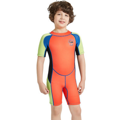 2.5mm Half Sleeve Wetsuits for Kids Boys Girls Back Zipper One Piece Swimsuit-Wetsuits-hundredfeel-Orange-S-hundredfeel