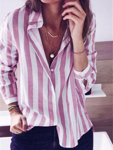 Long Sleeve Stripe Blouse-Blouses-hundredfeel.com-Pink-S-hundredfeel