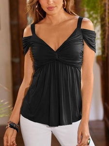 Deep V Pleated Sling Strapless Blouse-Blouses-hundredfeel.com-Black-S-hundredfeel