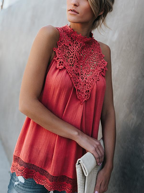 Lace Chiffon Splice Blouse-Blouses-hundredfeel.com-Red-S-hundredfeel