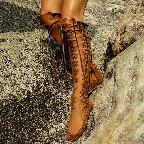 Women PU Casual Lace Up Knee Length Flat Boots-Boots-hundredfeel.com-hundredfeel