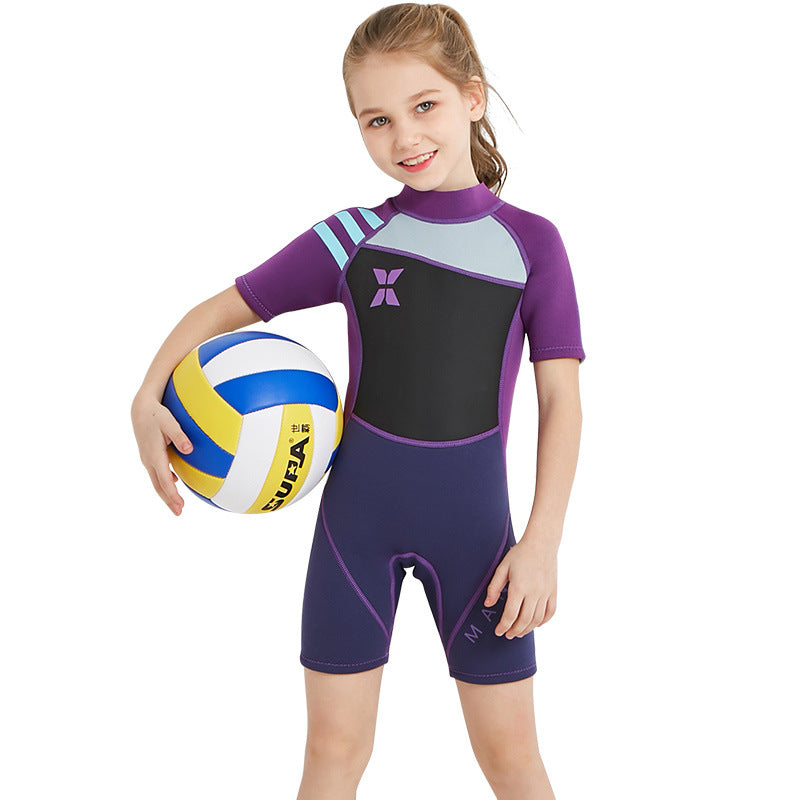 2.5mm Half Sleeve Back Zipper One Piece Wetsuits-wetsuits-hundredfeel-Purple-S-hundredfeel