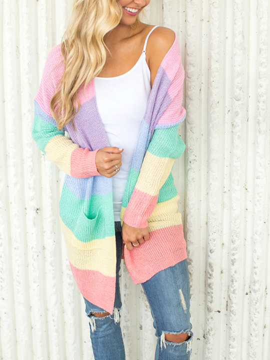 Rainbow Striped Long Cardigan-Cardigans-hundredfeel.com-hundredfeel