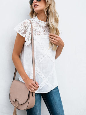 Lace Stand Collar Geometric Stitching Blouse-Blouses-hundredfeel.com-hundredfeel