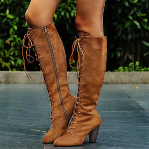 Women Vintage Pointy Toe Zipper Lace Up Boots-Boots-hundredfeel.com-hundredfeel