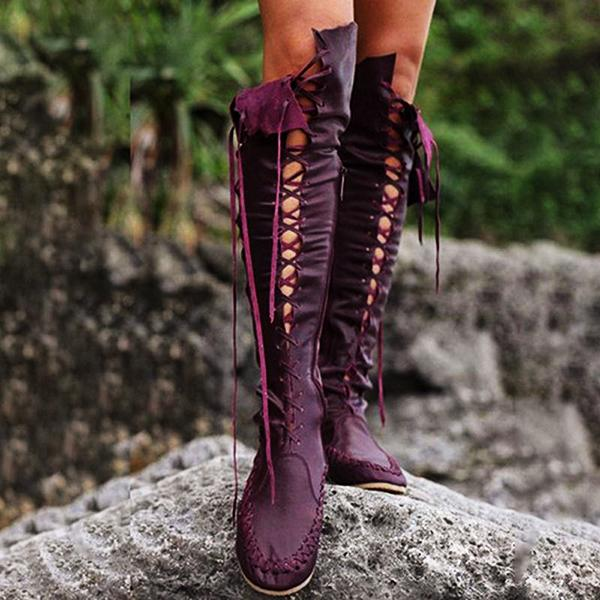 Women PU Casual Lace Up Knee Length Flat Boots-Boots-hundredfeel.com-PURPLE-34-hundredfeel